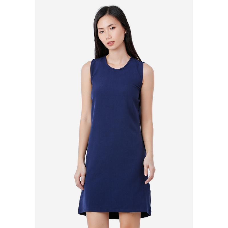 Lovadova Open Back Dress Blue