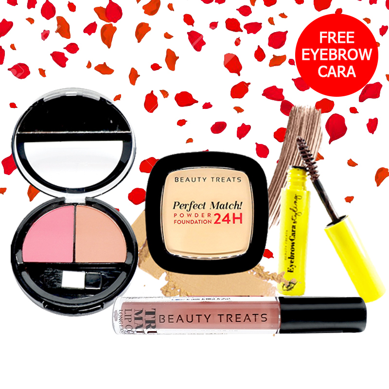 Beauty Treats Make Up Set A (Perfect Match Powder Foundation 24H No. 1 + True Matte Lip Color No. 8 + Duo Blush No. 2) FREE Eyebrowcara Dark Brown