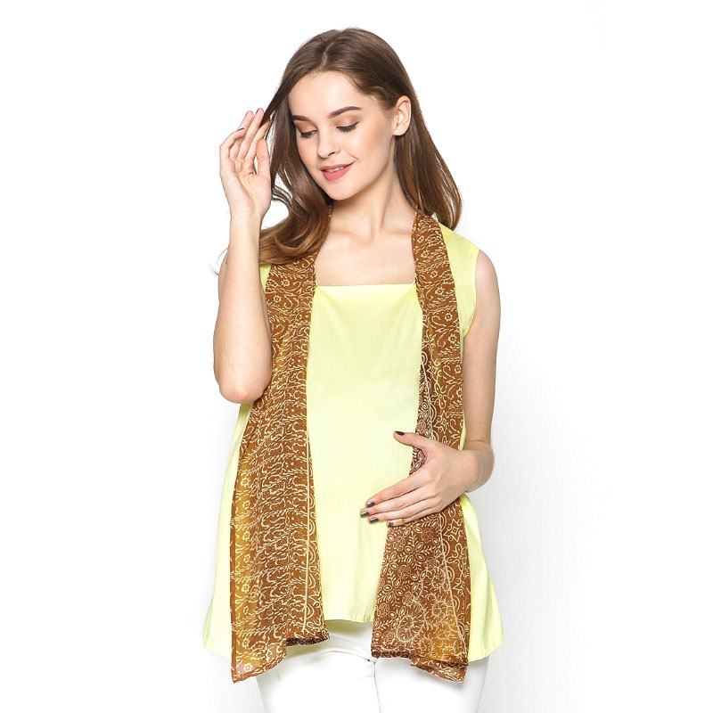 Chantilly Maternity&Nursing Top Nabila 23006 - Light Yellow Batik Brown