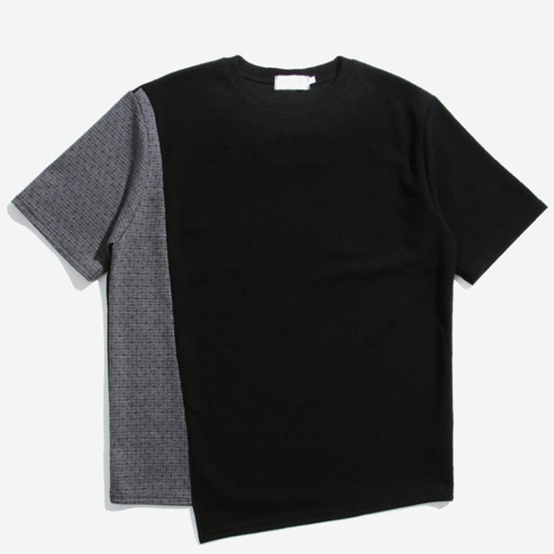 [YN.40] Diagonal Line Pattern Short Sleeve T-shirt BLACK