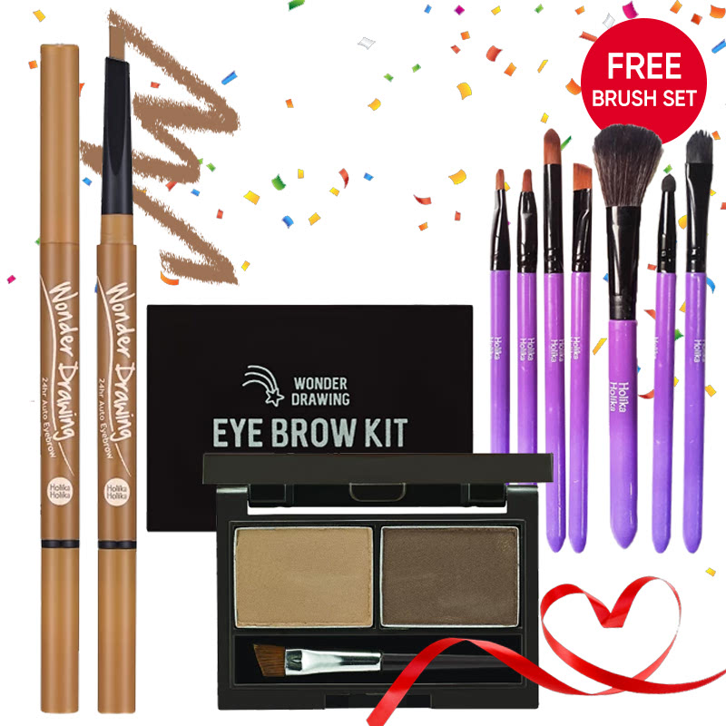 Holika Holika Wonder Drawing Eyebrow Kit 02 Ash Brown + 24hr Auto Eyebrow 03 Light Brown FREE Brush Set Purple