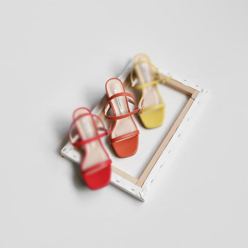 SAPPUN De Jane Buckle Strap Sandals (2cm) - Orange Synthetic Leather