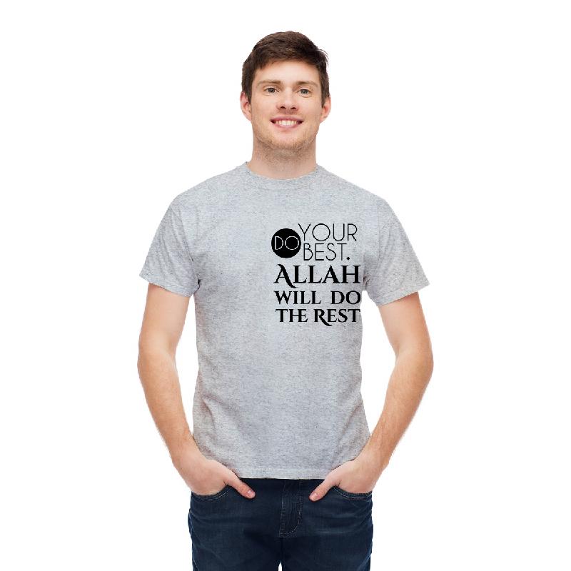 Aitana Kaos Pria Muslim DO BEST Bahan Katun warna Putih Abu