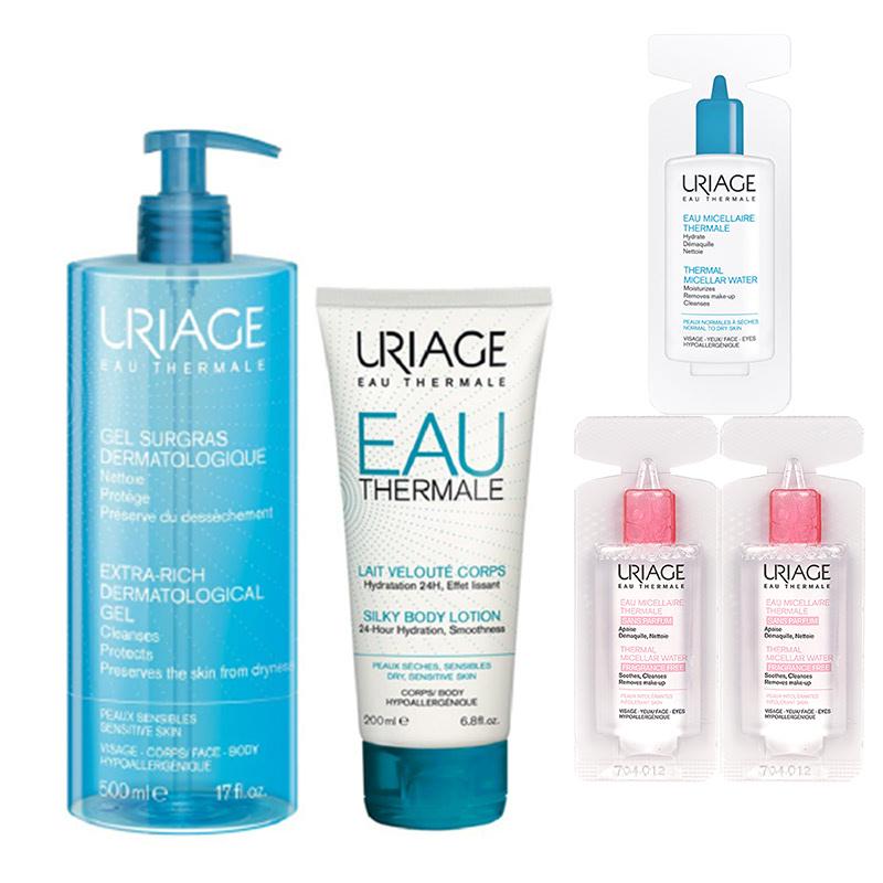 Uriage Body Hydration Set (Dermatological Gel + Silky Body Lotion + Vial Micellar (3x))