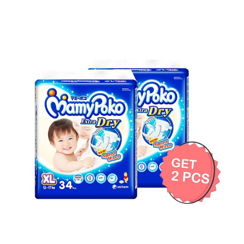 MamyPoko Popok Tipe Perekat Ekstra Kering XL 34 Pcs (Get 2)