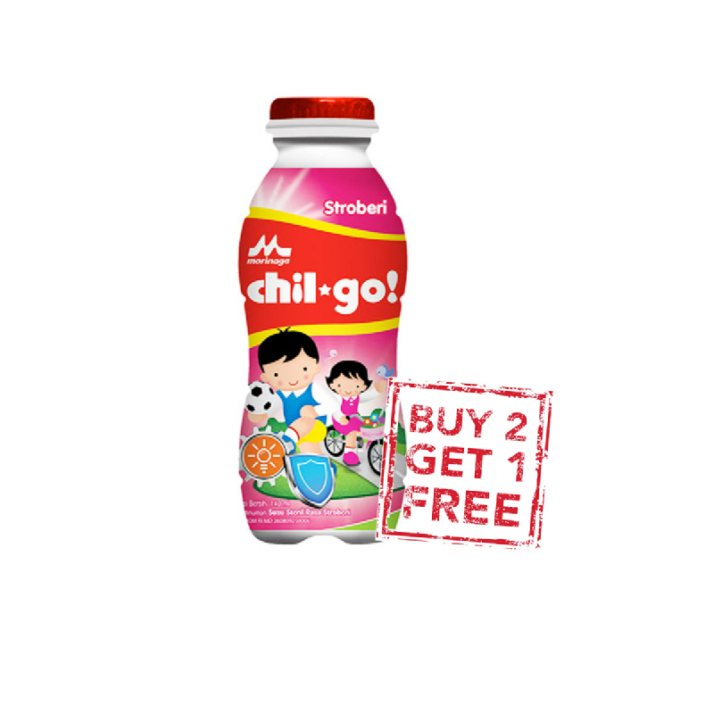 Chil Go Milk Strawberry Btl 140Ml (Buy 2 Get 1)