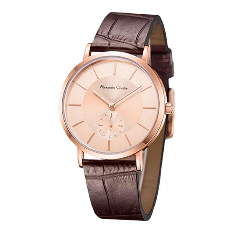 Alexandre Christie AC 8575 LSLRGRG Ladies Rose Gold Dial Brown Leather Strap