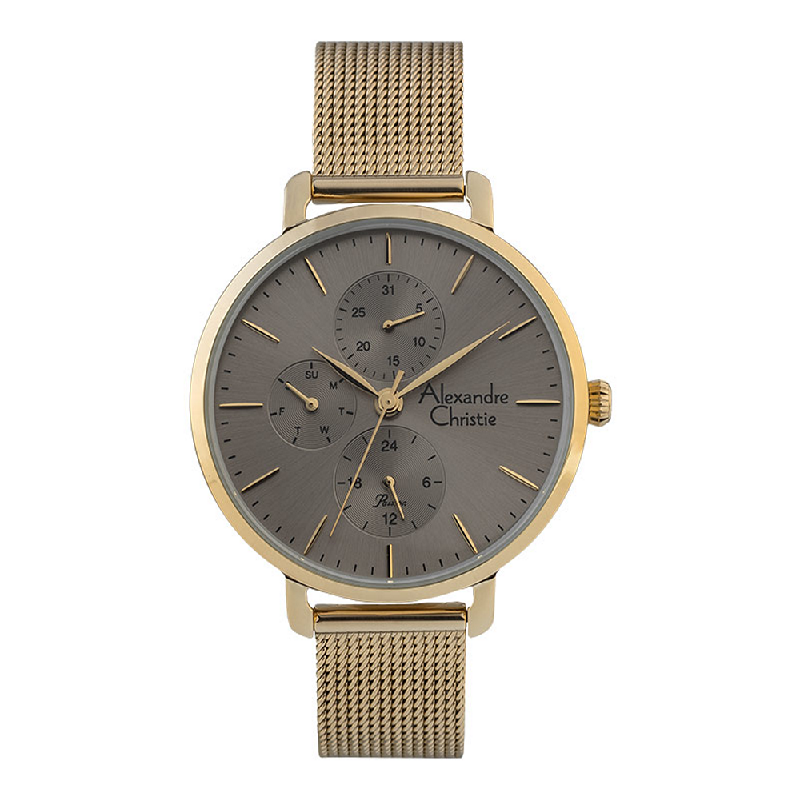 Alexandre Christie Passion AC 2916 BF BGPGR Ladies Grey Dial Gold Mesh Strap