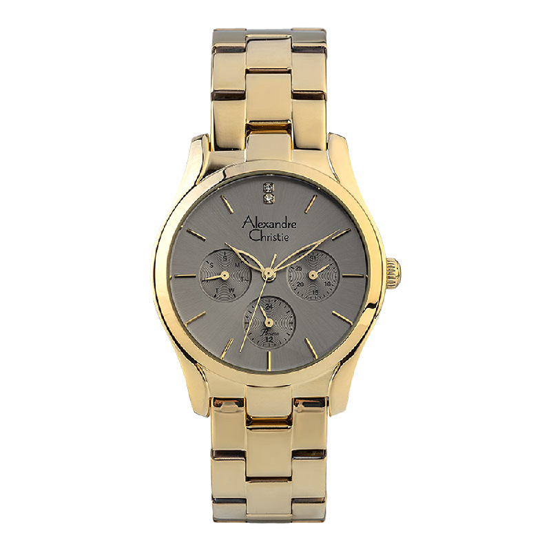 Alexandre Christie Passion AC 2910 BF BGPLG Ladies Grey Dial Gold Stainless Steel Strap