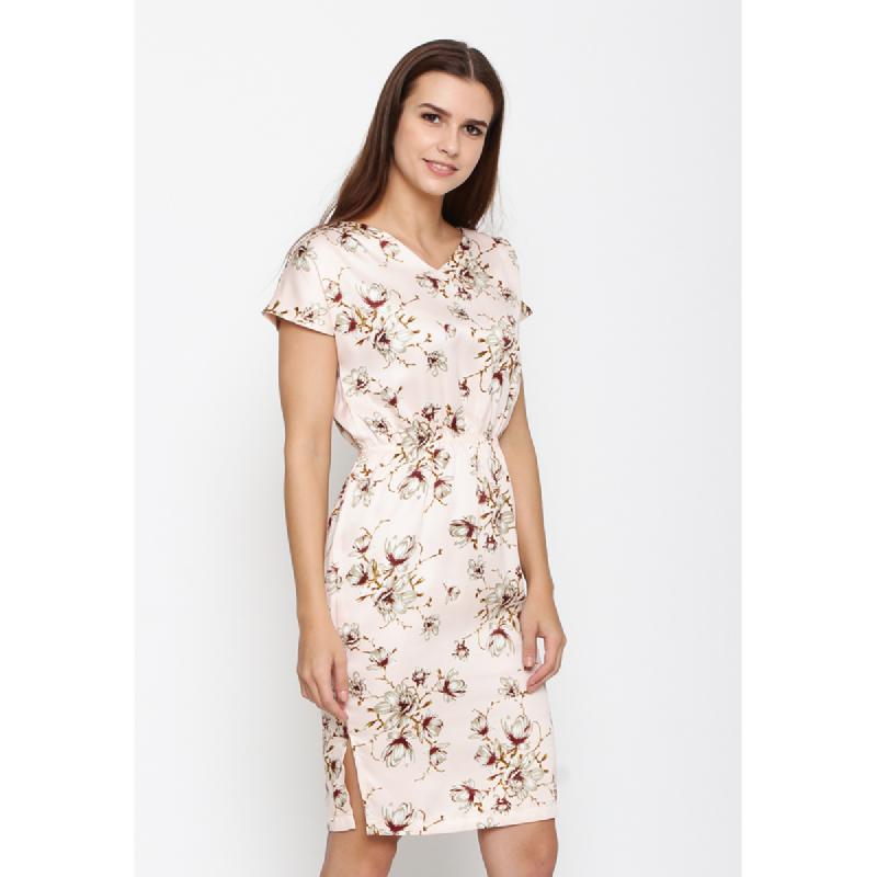 Agatha V-Neck Floral Shift Dress Peach