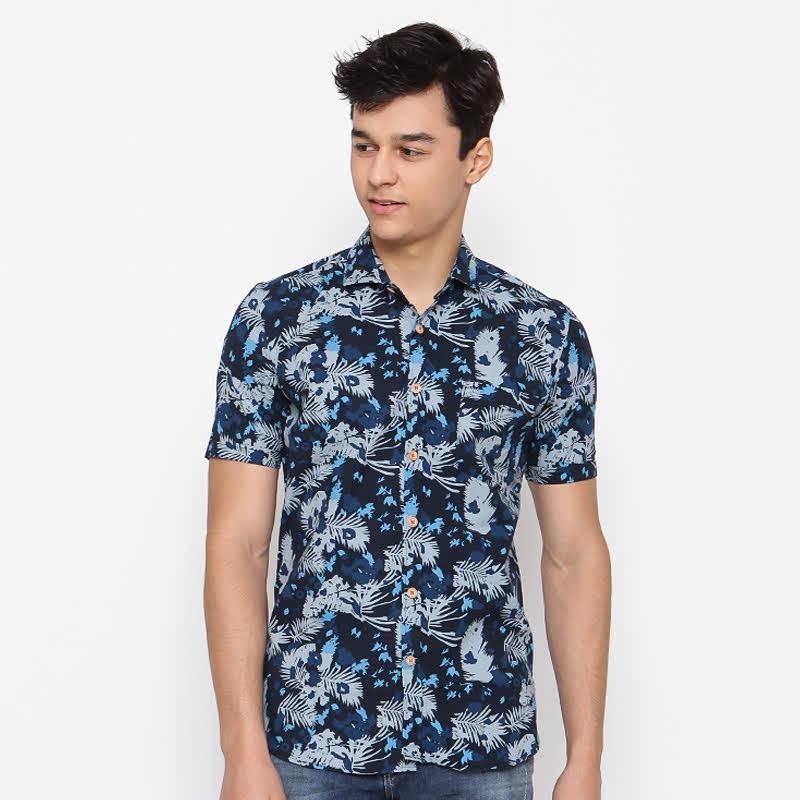 Revo Navy Cotton Short Sleeve Shirt