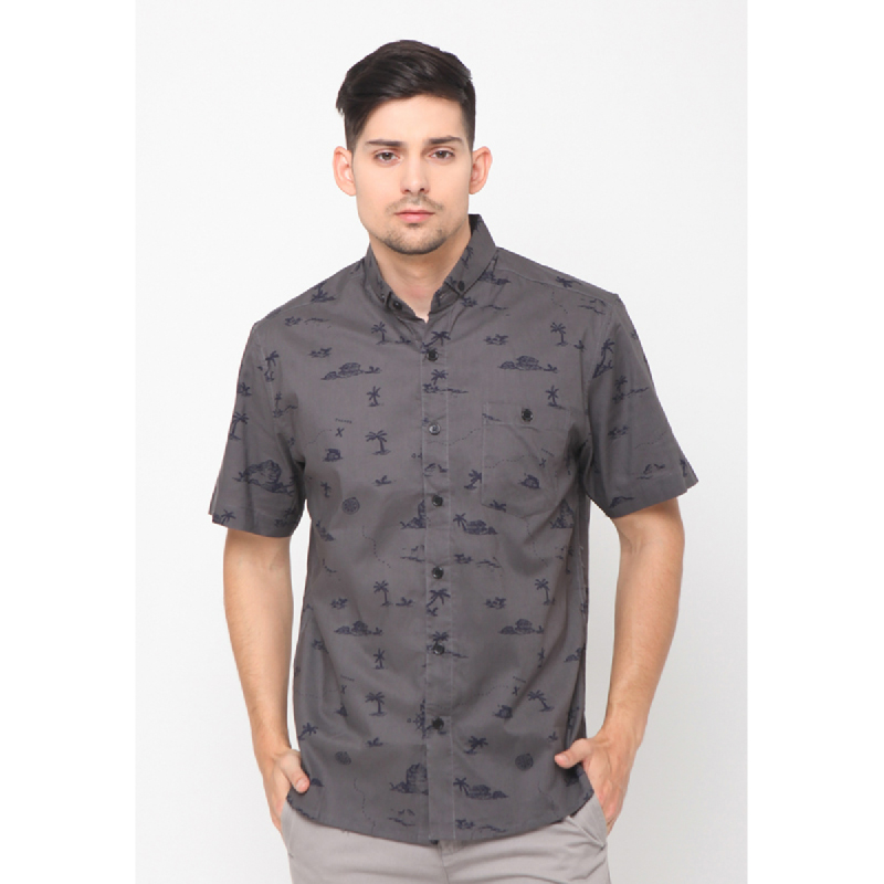 17seven Men Shirt Shortsleeve Line Grey