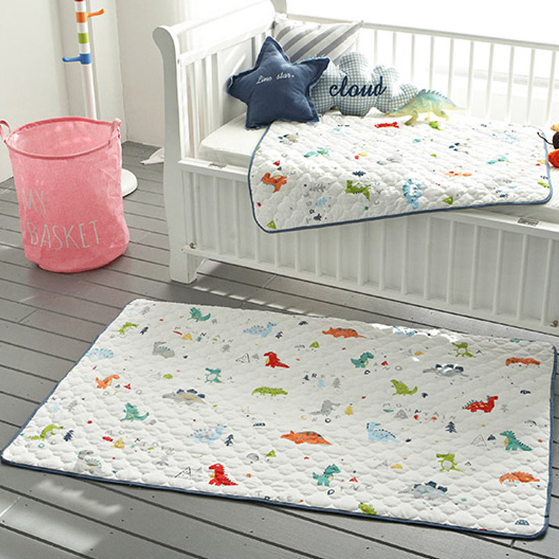 All-Cotton Quilt Waterproof Pad (big size) - Crayon Navy