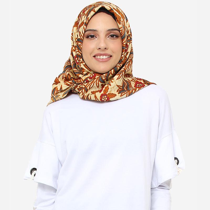 Anakara Square Headscarf Fleur De Bambou Brown