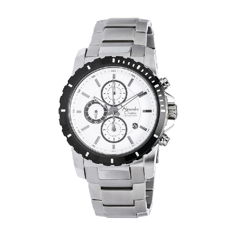 Alexandre Christie AC 6141 MCBTBSL Mens Watch Stainless Steel Silver White