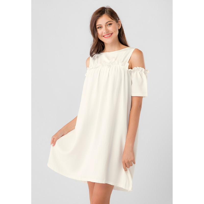 Lovadova Premium Eva Off Shoulder Dress Cream