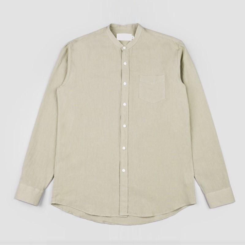 Label China Collar Shirt - KHAKI