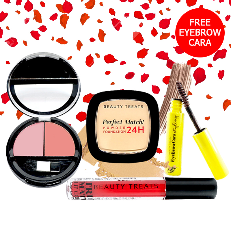 Beauty Treats Make Up Set A (Perfect Match Powder Foundation 24H No. 1 + True Matte Lip Color No. 6 + Duo Blush No. 1) FREE Eyebrowcara Dark Brown