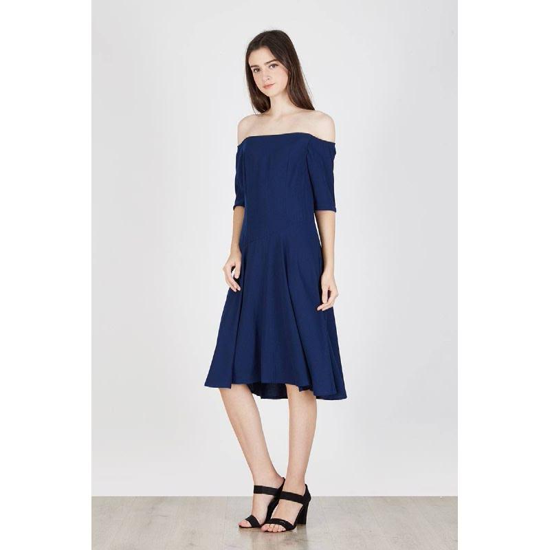 Orin Off Shoulder Dress Blue