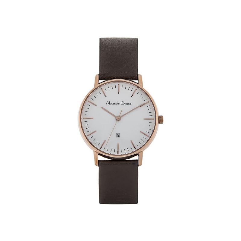 Alexandre Christie AC 8420 LDLRGSL Women Watch Leather Strap White Rosegold