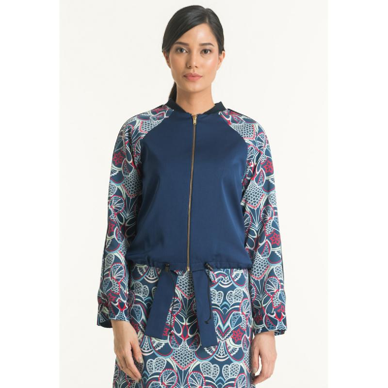 Bateeq Women Jacket Cotton Print FL008E-SS18 Navy