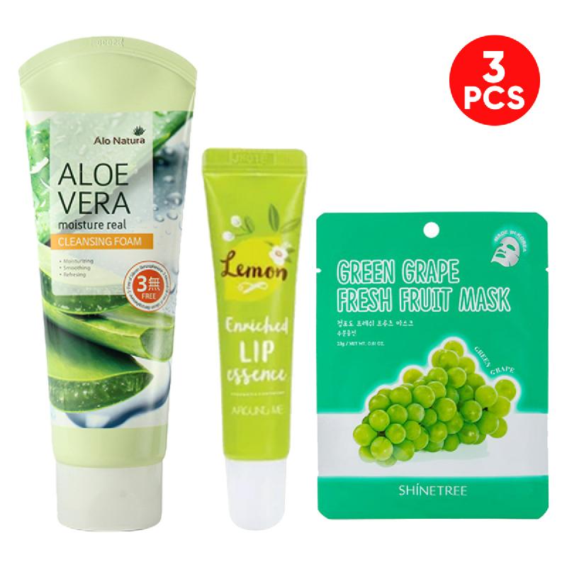 Alo Natura Aloe Vera Cleansing Foam 150 Ml + Around Me Enriched Lip Essence Lemon 8,7 Gr + Shinetree Green Grape Fresh Fruit Mask Sheet