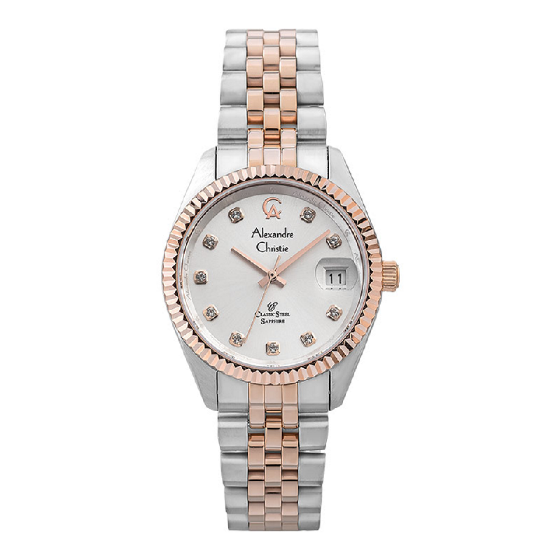 Alexandre Christie Classic Steel AC 5013 LD BTRSL Ladies Silver Dial Dual Tone Stainless Steel Strap
