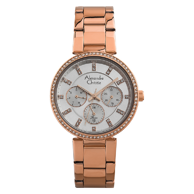 Alexandre Christie Passion AC 2874 BF BRGSL Ladies Silver Dial Rose Gold Stainless Steel Strap