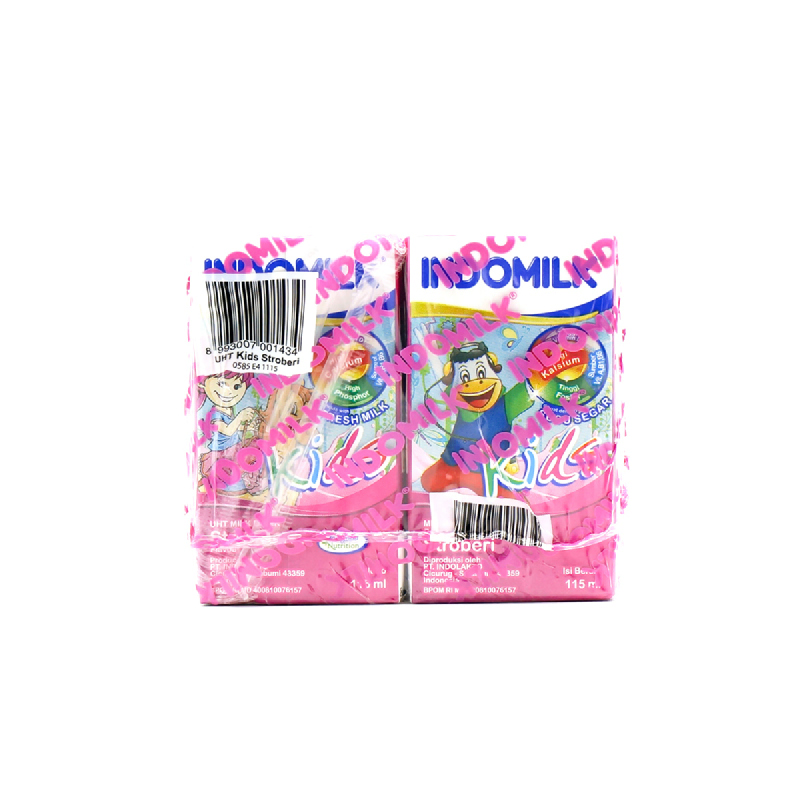 Indomilk Uht Kids Strawberry Multipack 4 X 115 Ml