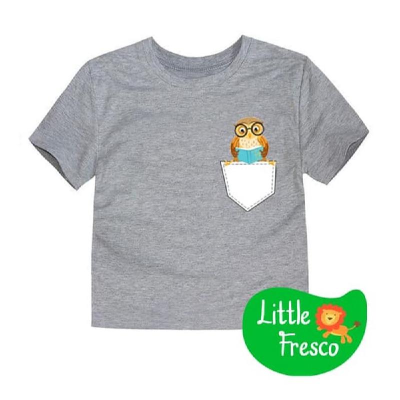 Little Fresco - Kaos Anak Pocket Owl Abu