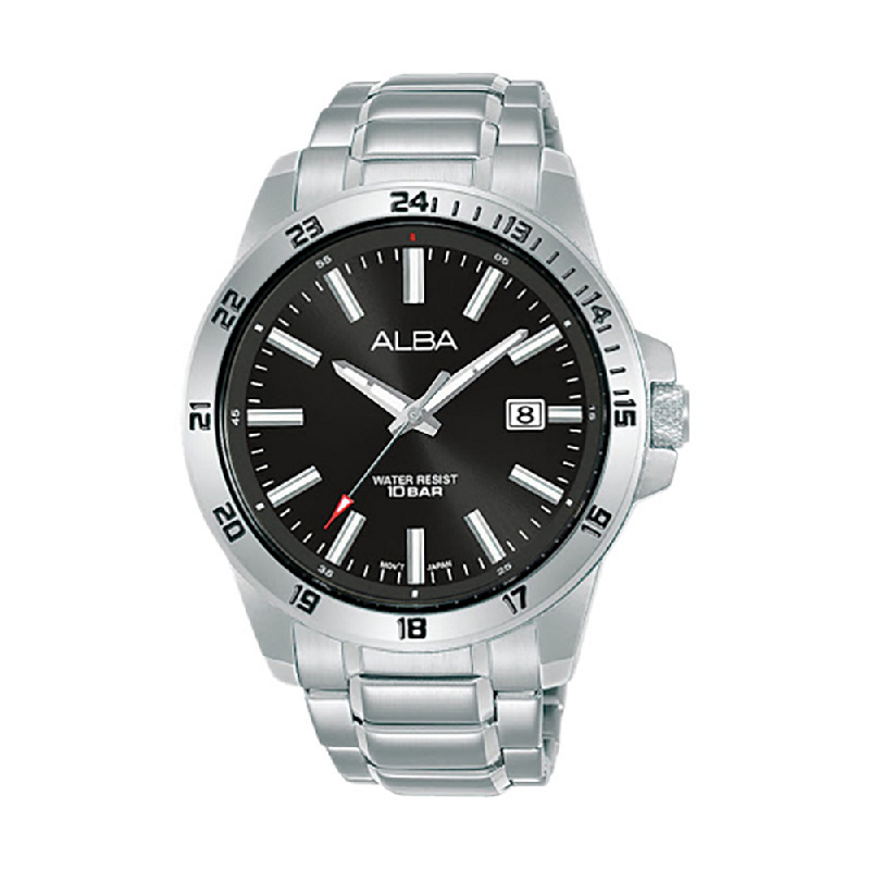 Alba Active AS9M25X1 Men Black Dial Stainless Steel Strap