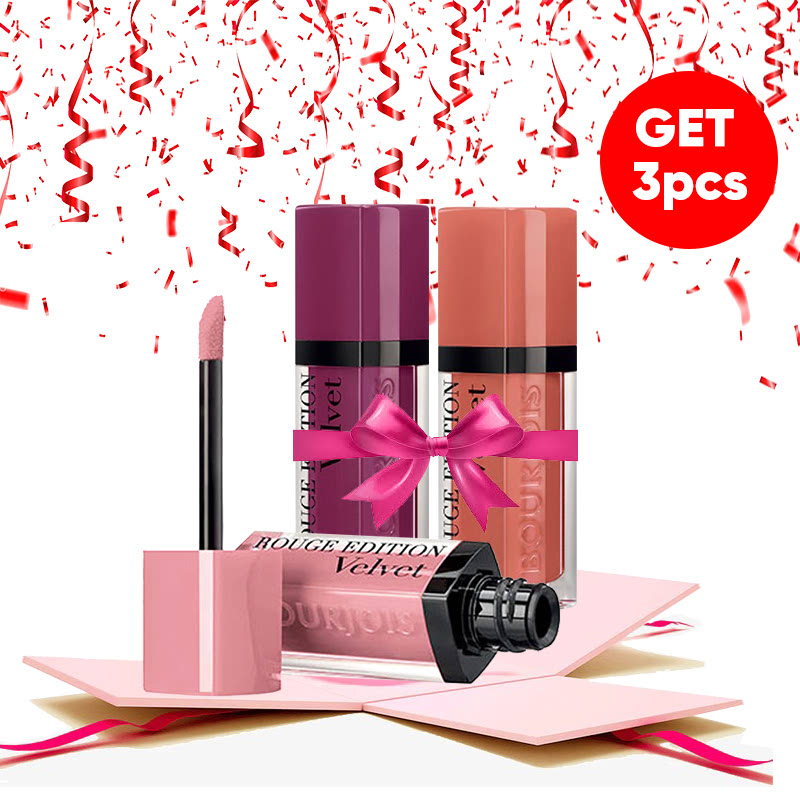 Bourjois Bundle Rouge Edition Velvet (Dont Pink of It + Plum Plum Girl + Honey Mood)