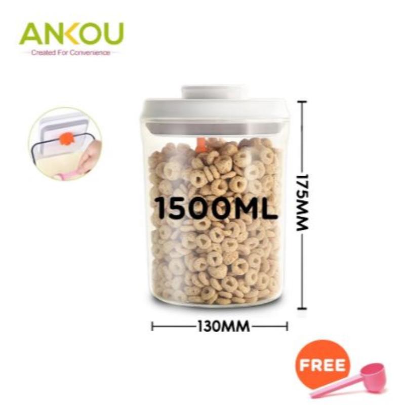 Ankou - Toples Makanan Serbaguna atau Susu Bubuk Air Tight 1500ml Bulat