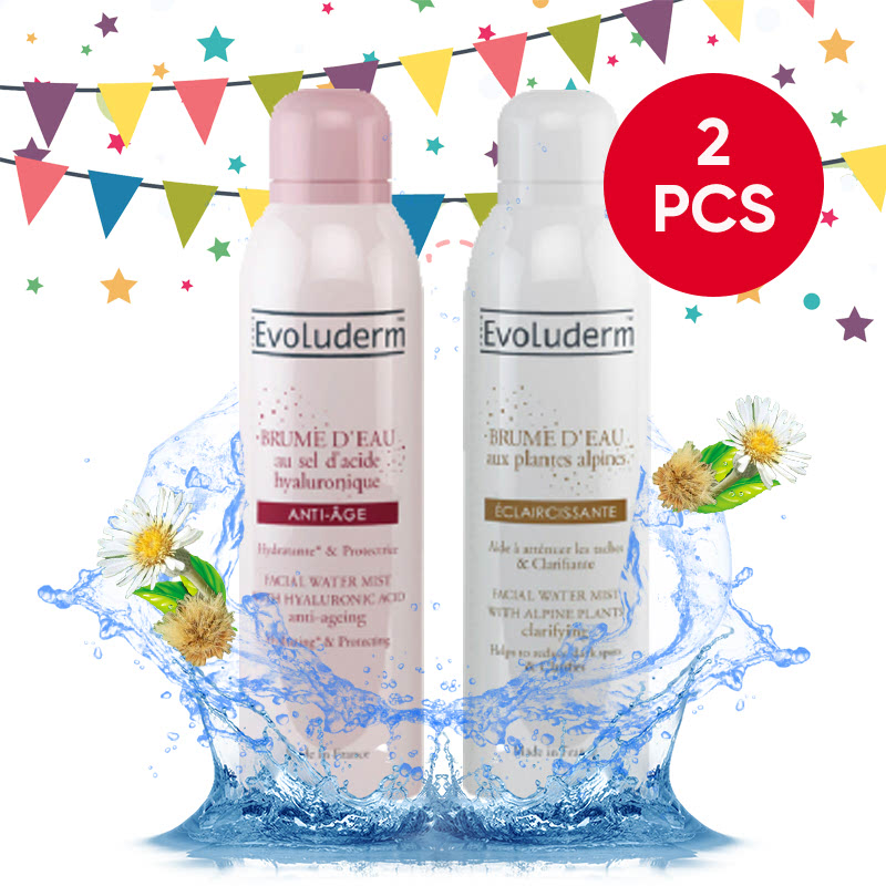 Evoluderm Facial Water Mist Clarifying With Alpine Plants 150Ml + Evoluderm Facial Water Mist Anti-Aging With Hyaluronic Acid 150Ml