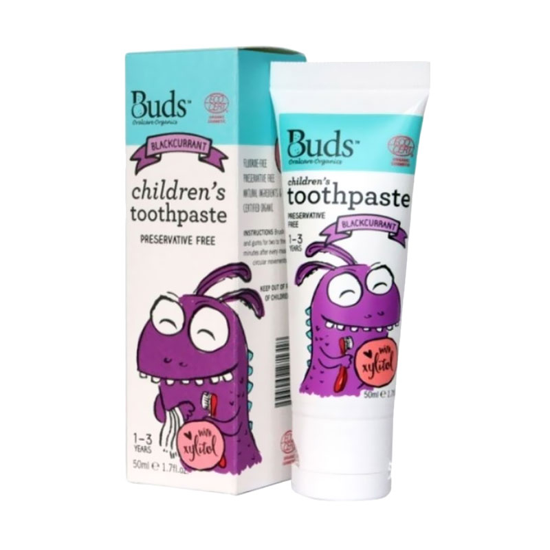 Buds for Kids Children's Toothpaste with Natural Xylitol - Blackcurrant [1 - 3 Tahun]