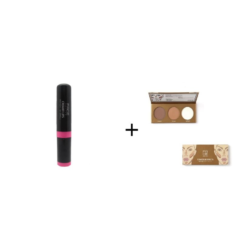 Face Recipe Creamy Lips Magenta Lip Gloss + Face Recipe Contour Effects