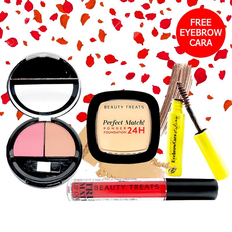 Beauty Treats Make Up Set A (Perfect Match Powder Foundation 24H No. 1 + True Matte Lip Color No. 6 + Duo Blush No. 2) FREE Eyebrowcara Dark Brown