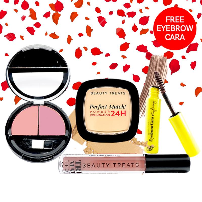 Beauty Treats Make Up Set A (Perfect Match Powder Foundation 24H No. 1 + True Matte Lip Color No. 8 + Duo Blush No. 3) FREE Eyebrowcara Dark Brown