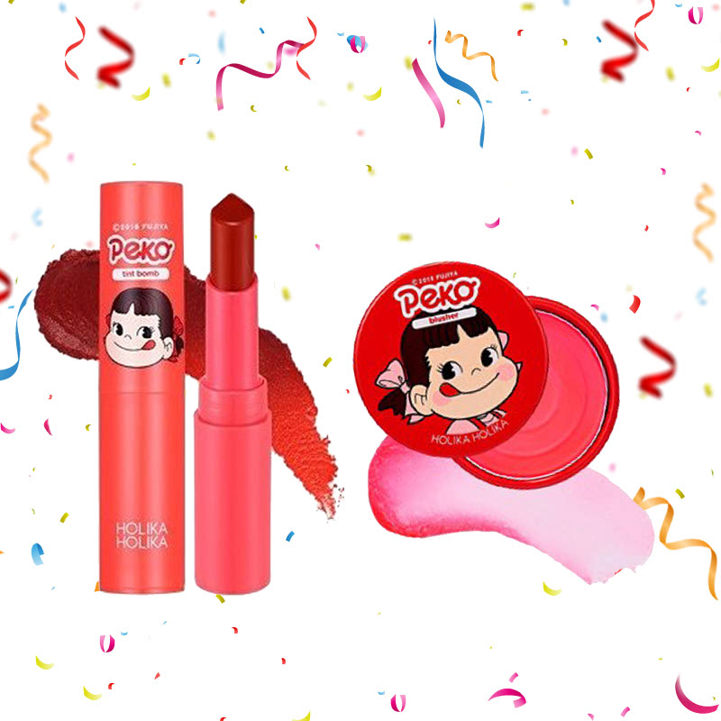 Holika Holika Peko Water Drop Tint Bomb 03 Fig Water + Peko Melty Jelly Blusher 03 Melting Strawberry