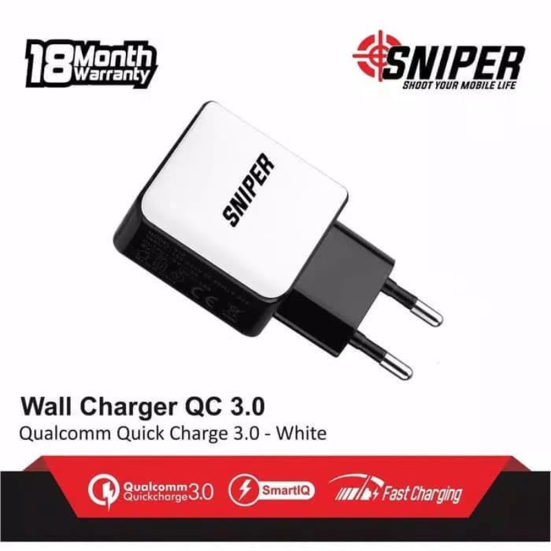 Sniper Wall Charger 1 Port Fast Charging Quick Charge 3.0 - Putih