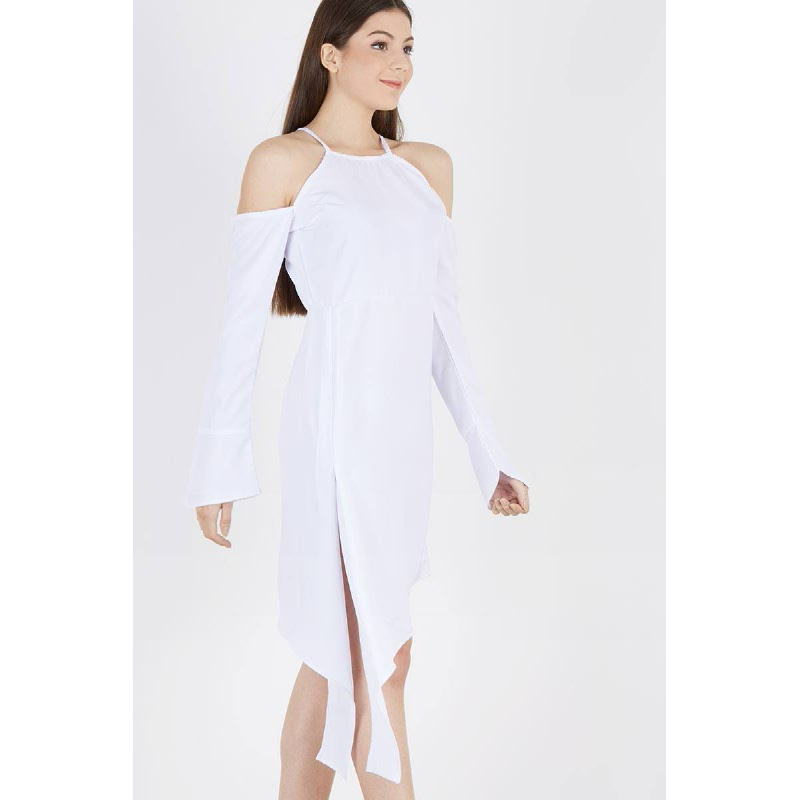 Pele Drop Sleeve Dress White