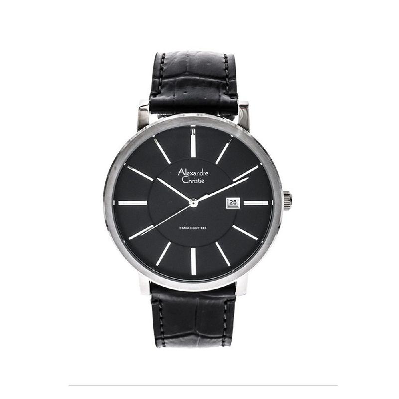 Alexandre Christie AC 8344 MDLSSBA Mens Watch Leather Strap Silver Black