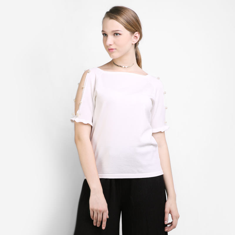 BLIC4194  Icons Split Slves With Pearl Knit Blouse  Color White