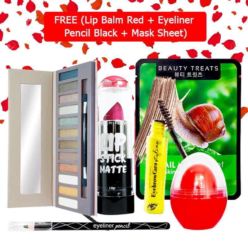 Beauty Treats Make Up Set B (Naked Eyeshadow No. 1 + Lipstick No. 3 + Eyebrowcara Dark Brown) FREE Kiss Me Lip Balm Red + Eyeliner Pencil Black + Mask Sheet Snail
