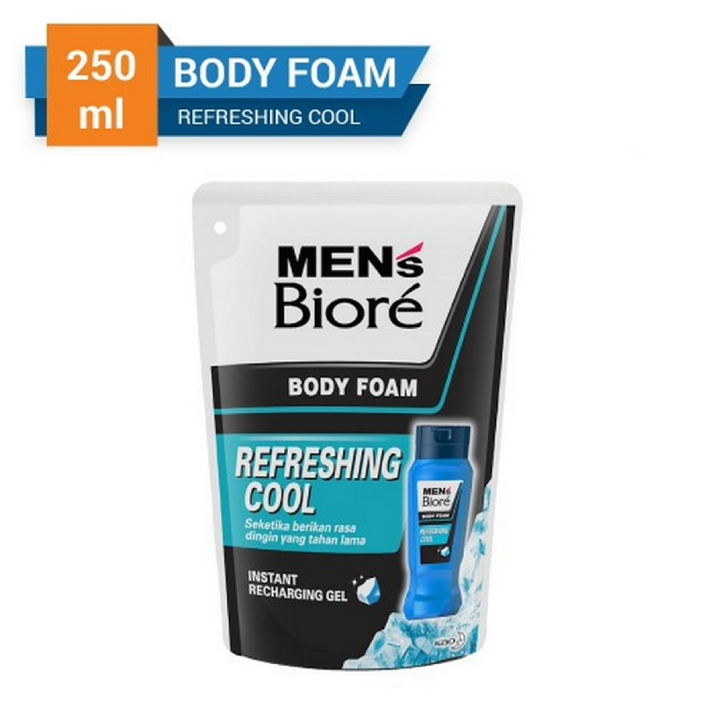 Biore Men's Body Foam Refreshing Cool Pouch 250 ml