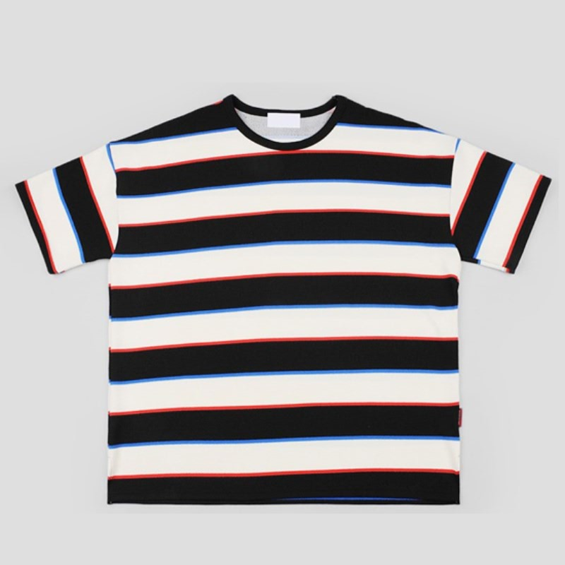 Multi Stripe Over-fit Short Sleeve - IVORY