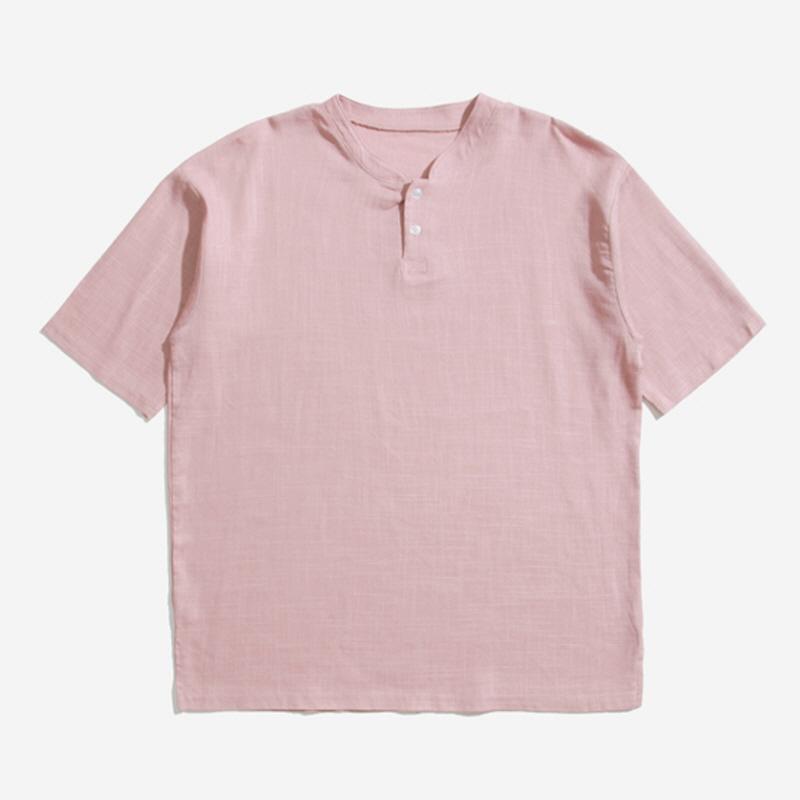 [JN.06] Linen Henley Neck Short Sleeve T-shirt PINK