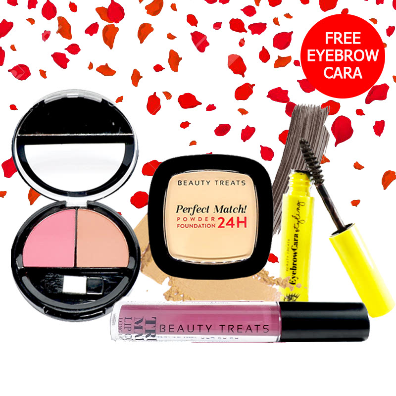 Beauty Treats Make Up Set A (Perfect Match Powder Foundation 24H No. 1 + True Matte Lip Color No. 11 + Duo Blush No. 2) FREE Eyebrowcara Dark Grey Brown