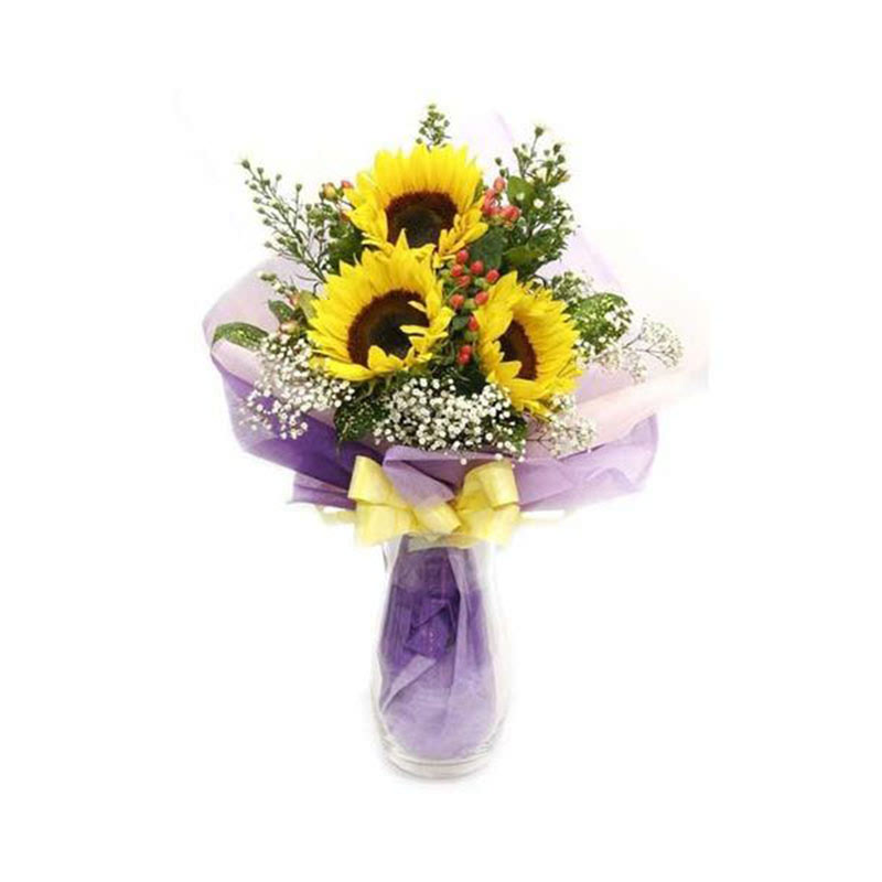 3 Sunflowers Hand Bouquet