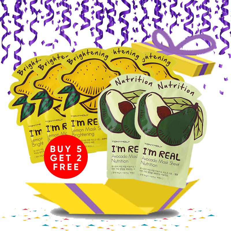 Tony Moly Bundle 5pcs I Am Real Lemon Mask Sheet Brightening + 2pcs Avocado Mask Sheet Nutrition